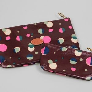 Fossil Coated Polka Dot Circle Cosmetic Pouch